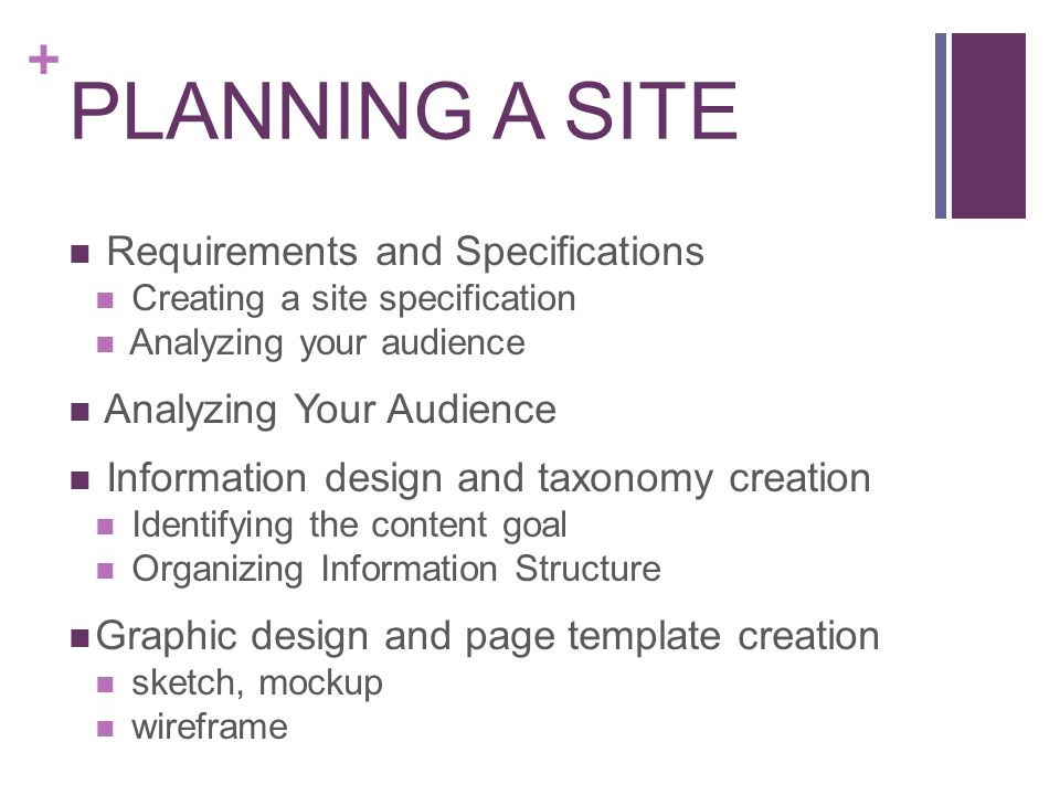 + PLANNING A SITE Requirements and Specifications Creating a site specification Analyzing your audience Analyzing Your Audience Information design and