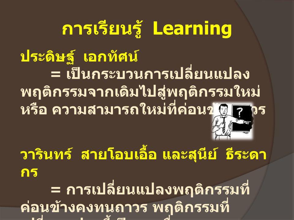 การเรียนรู้ Learning ประดิษฐ์ เอกทัศน์ = เป็นกระบวนการเปลี่ยนแปลง พฤติกรรมจากเดิมไปสู่พฤติกรรมใหม่ หรือ ความสามารถใหม่ที่ค่อนข้างถาวร วารินทร์ สายโอบเ
