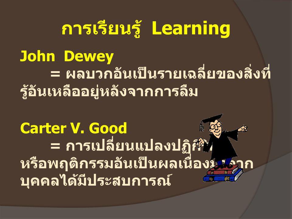การเรียนรู้ Learning John Dewey = ผลบวกอันเป็นรายเฉลี่ยของสิ่งที่ รู้อันเหลืออยู่หลังจากการลืม Carter V. Good = การเปลี่ยนแปลงปฏิกิริยา หรือพฤติกรรมอั