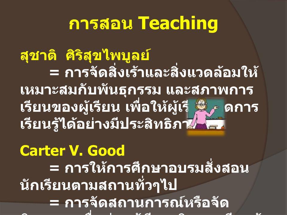 การสอน Teaching สุชาติ ศิริสุขไพบูลย์ = การจัดสิ่งเร้าและสิ่งแวดล้อมให้ เหมาะสมกับพันธุกรรม และสภาพการ เรียนของผู้เรียน เพื่อให้ผู้เรียนเกิดการ เรียนร