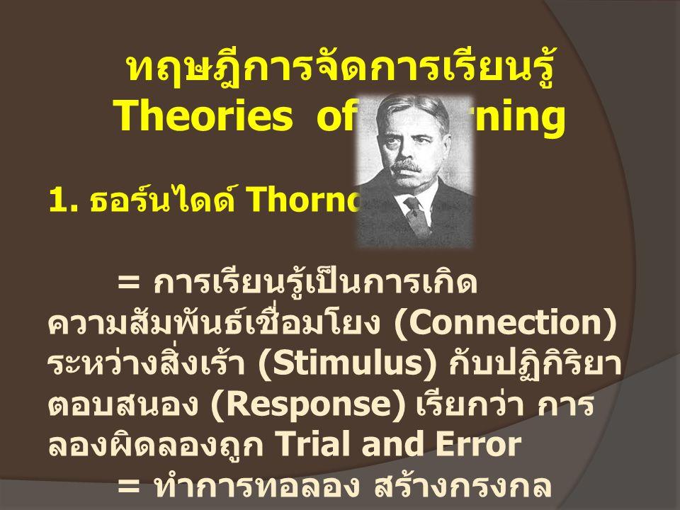 ทฤษฎีการจัดการเรียนรู้ Theories of Learning 1. ธอร์นไดด์ Thorndike = การเรียนรู้เป็นการเกิด ความสัมพันธ์เชื่อมโยง (Connection) ระหว่างสิ่งเร้า (Stimul