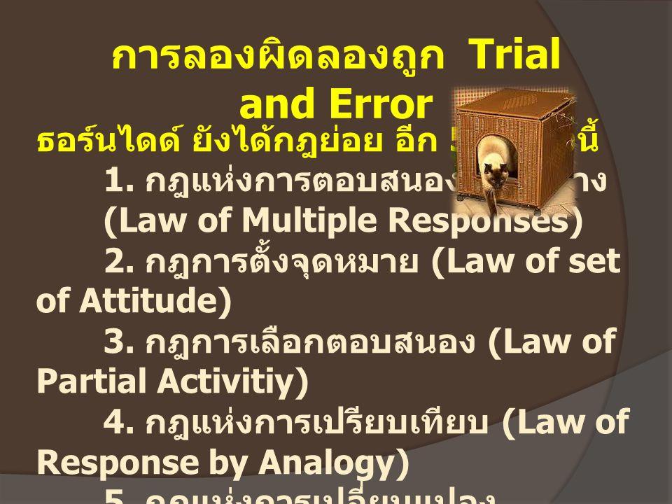 ธอร์นไดด์ ยังได้กฎย่อย อีก 5 กฎ ดังนี้ 1. กฎแห่งการตอบสนองหลายทาง (Law of Multiple Responses) 2. กฎการตั้งจุดหมาย (Law of set of Attitude) 3. กฎการเลื