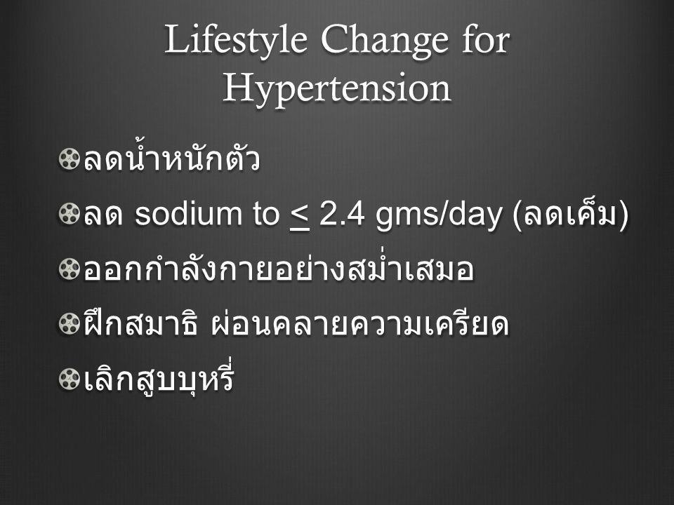 Lifestyle Change for Hypertension ลดน้ำหนักตัว ลด sodium to < 2.4 gms/day ( ลดเค็ม ) ออกกำลังกายอย่างสม่ำเสมอ ฝึกสมาธิ ผ่อนคลายความเครียด เลิกสูบบุหรี