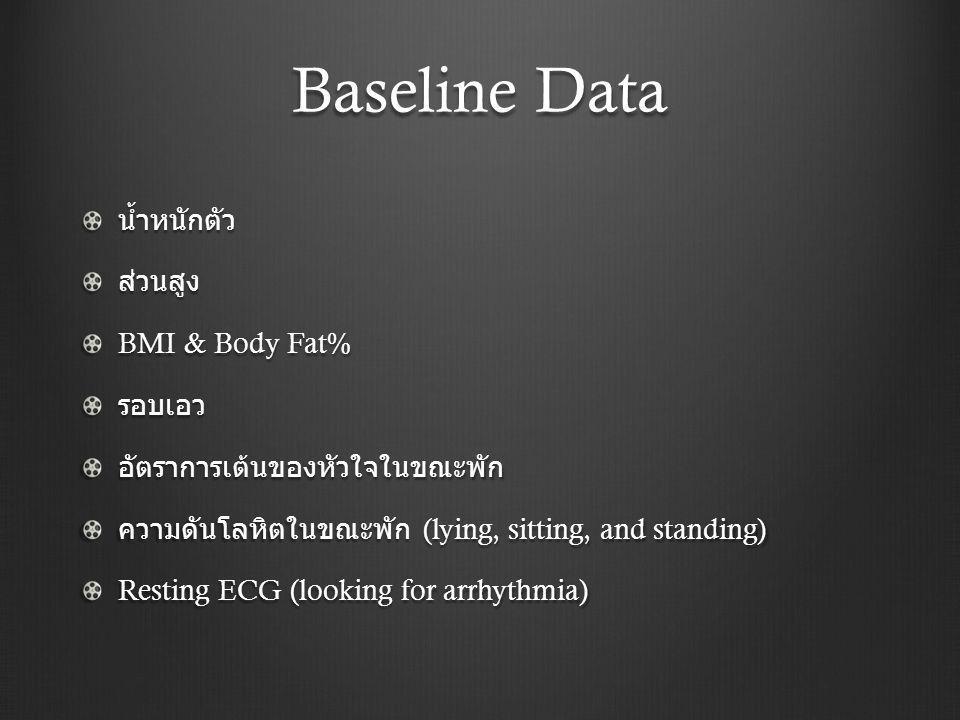 Baseline Data น้ำหนักตัวส่วนสูง BMI & Body Fat% รอบเอวอัตราการเต้นของหัวใจในขณะพัก ความดันโลหิตในขณะพัก (lying, sitting, and standing) Resting ECG (lo
