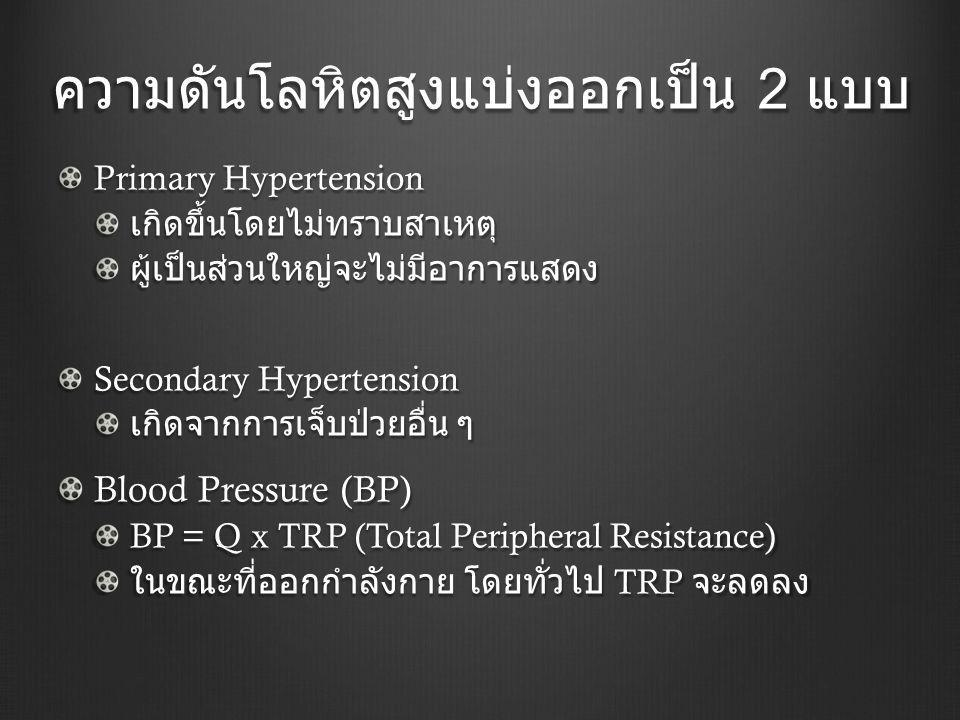 ความดันโลหิตสูงแบ่งออกเป็น 2 แบบ Primary Hypertension เกิดขึ้นโดยไม่ทราบสาเหตุผู้เป็นส่วนใหญ่จะไม่มีอาการแสดง Secondary Hypertension เกิดจากการเจ็บป่วยอื่น ๆ Blood Pressure (BP) BP = Q x TRP (Total Peripheral Resistance) ในขณะที่ออกกำลังกาย โดยทั่วไป TRP จะลดลง