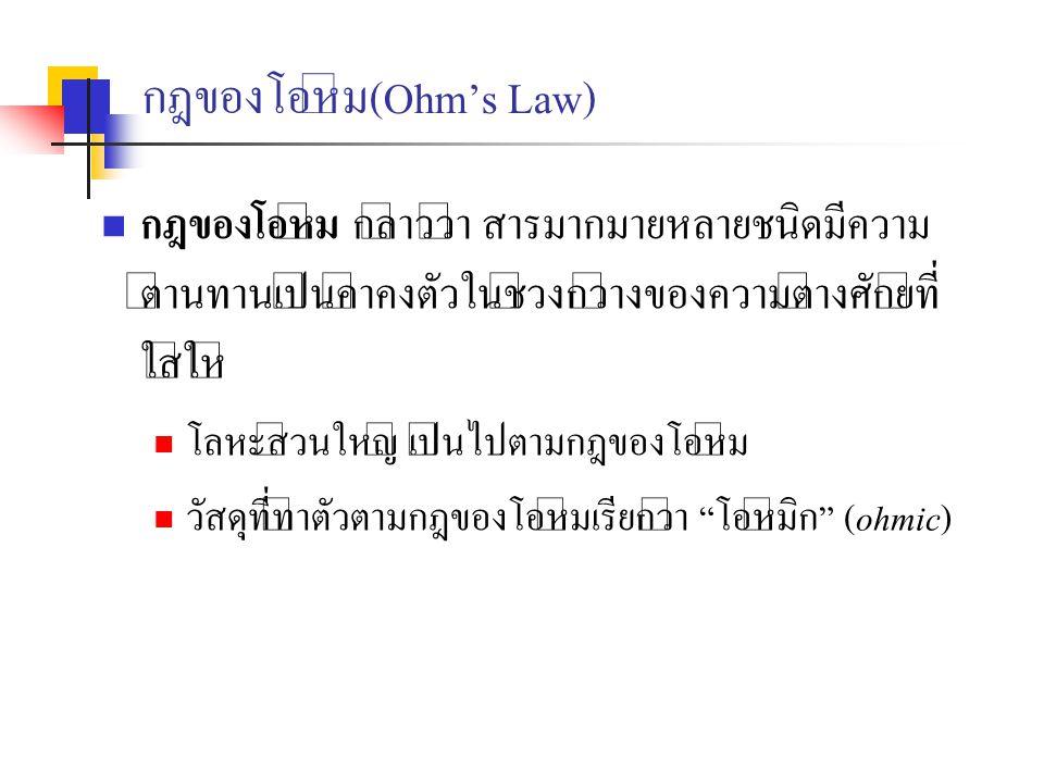 กฎของโอห์ม(Ohm's Law) กฎของโอห์ม กล่าวว่า สารมากมายหลายชนิดมีความ ต้านทานเป็นค่าคงตัวในช่วงกว้างของความต่างศักย์ที่ ใส่ให้ โลหะส่วนใหญ่ เป็นไปตามกฎของ