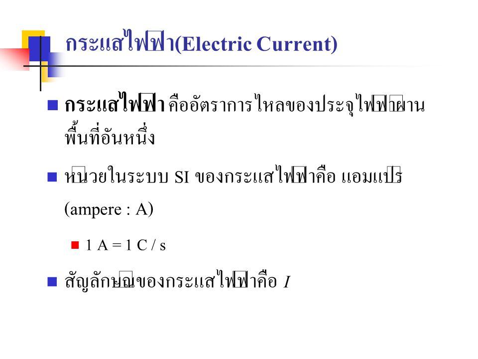 กระแสไฟฟ้า(Electric Current) กระแสไฟฟ้า คืออัตราการไหลของประจุไฟฟ้าผ่าน พื้นที่อันหนึ่ง หน่วยในระบบ SI ของกระแสไฟฟ้าคือ แอมแปร์ (ampere : A) 1 A = 1 C