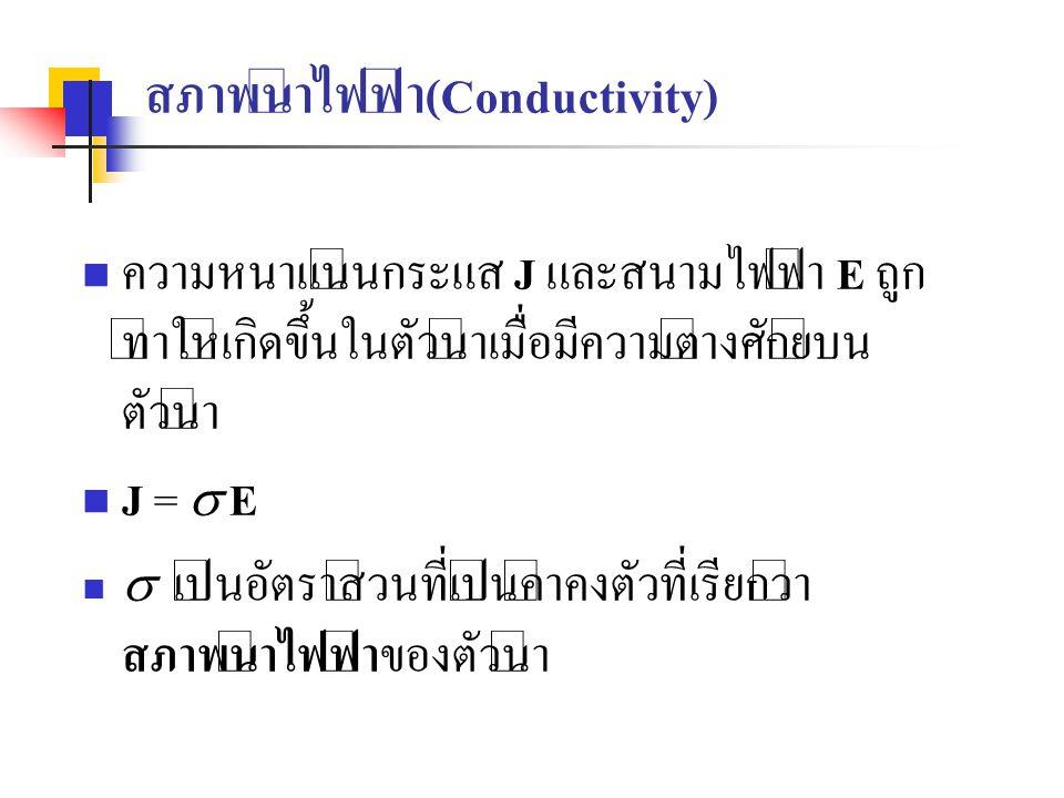 สภาพนำไฟฟ้า(Conductivity) ความหนาแน่นกระแส J และสนามไฟฟ้า E ถูก ทำให้เกิดขึ้นในตัวนำเมื่อมีความต่างศักย์บน ตัวนำ J =  E  เป็นอัตราส่วนที่เป็นค่าคงตั
