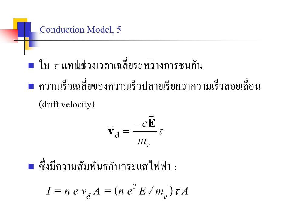 Conduction Model, 5 ให้  แทนช่วงเวลาเฉลี่ยระหว่างการชนกัน ความเร็วเฉลี่ยของความเร็วปลายเรียกว่าความเร็วลอยเลื่อน (drift velocity) ซึ่งมีความสัมพันธ์ก