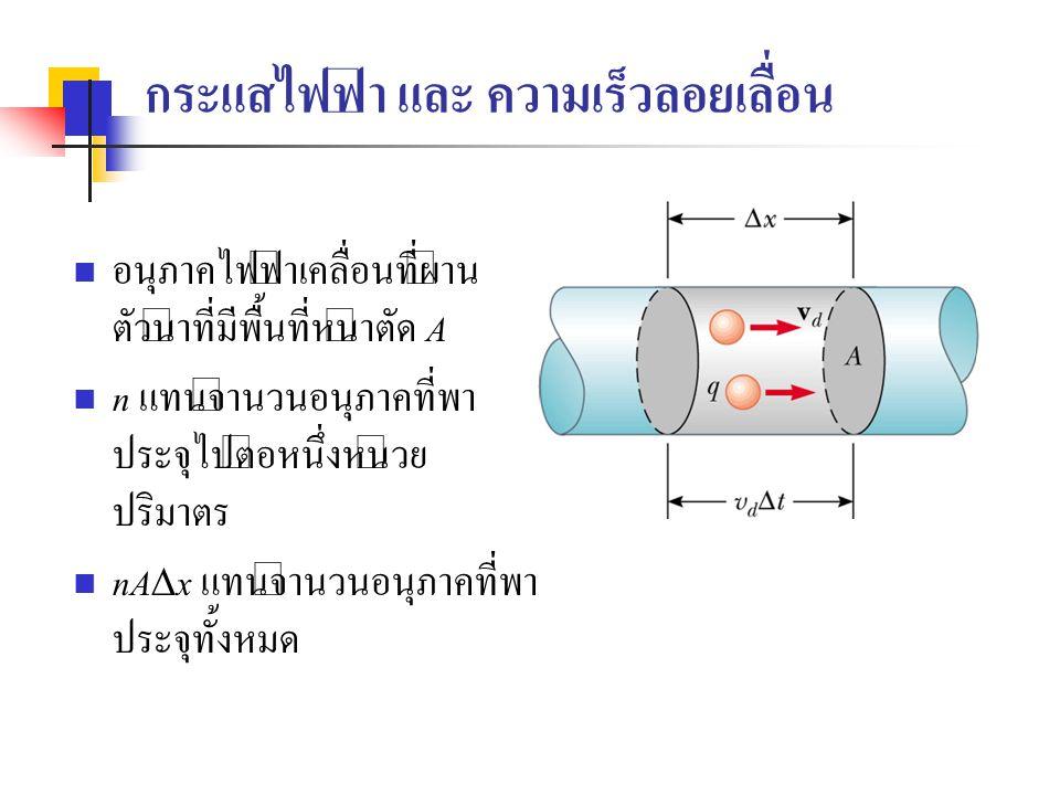 Current and Drift velocity, cont ประจุไฟฟ้าทั้งหมด เท่ากับจำนวนอนุภาคที่พาประจุ คูณกับ ค่าประจุบนหนึ่งอนุภาค q  Q = (n A  x) q ความเร็วลอยเลื่อน(drift velocity) v d คือความเร็วเฉลี่ยที่ อนุภาคที่พาประจุเคลื่อนที่ v d =  x/  t จึงเขียนได้เป็น :  Q = (n A v d  t) q จะได้กระแสไฟฟ้า I =  Q /  t = nqv d A