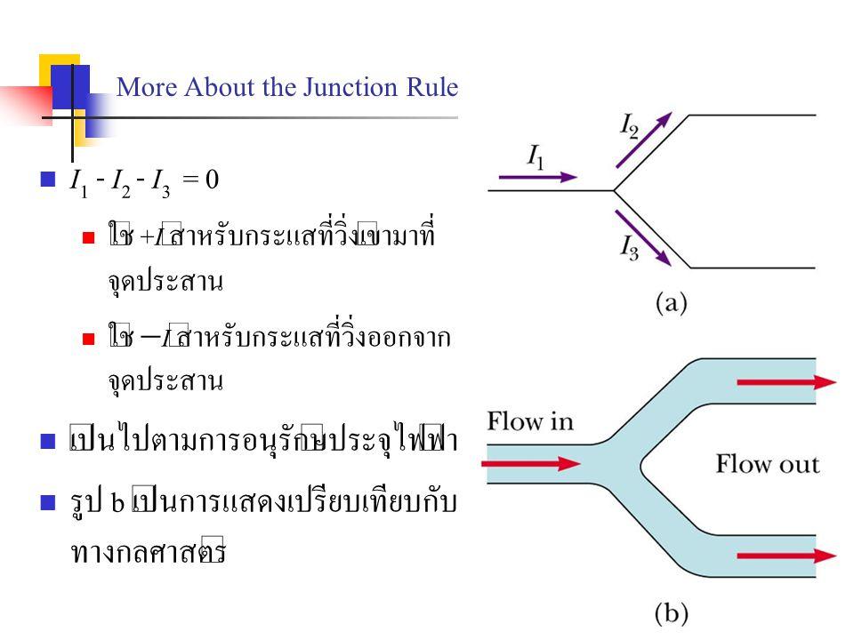 More About the Junction Rule I 1 - I 2 - I 3 = 0 ใช้ +I สำหรับกระแสที่วิ่งเข้ามาที่ จุดประสาน ใช้  I สำหรับกระแสที่วิ่งออกจาก จุดประสาน เป็นไปตามการอ