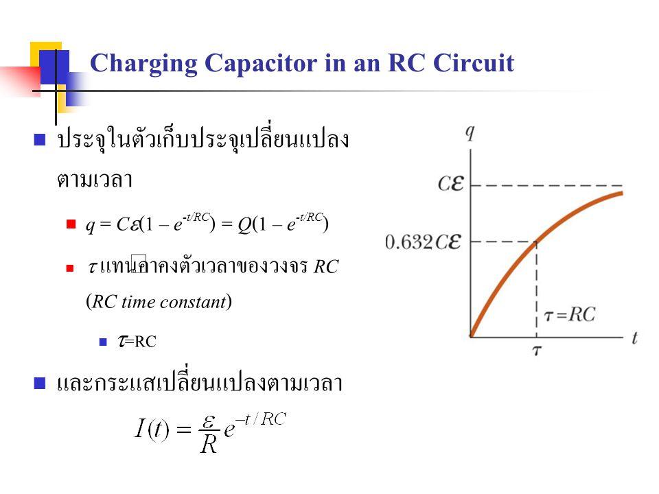 Charging Capacitor in an RC Circuit ประจุในตัวเก็บประจุเปลี่ยนแปลง ตามเวลา q = C  (1 – e -t/RC ) = Q(1 – e -t/RC )  แทนค่าคงตัวเวลาของวงจร RC (RC ti