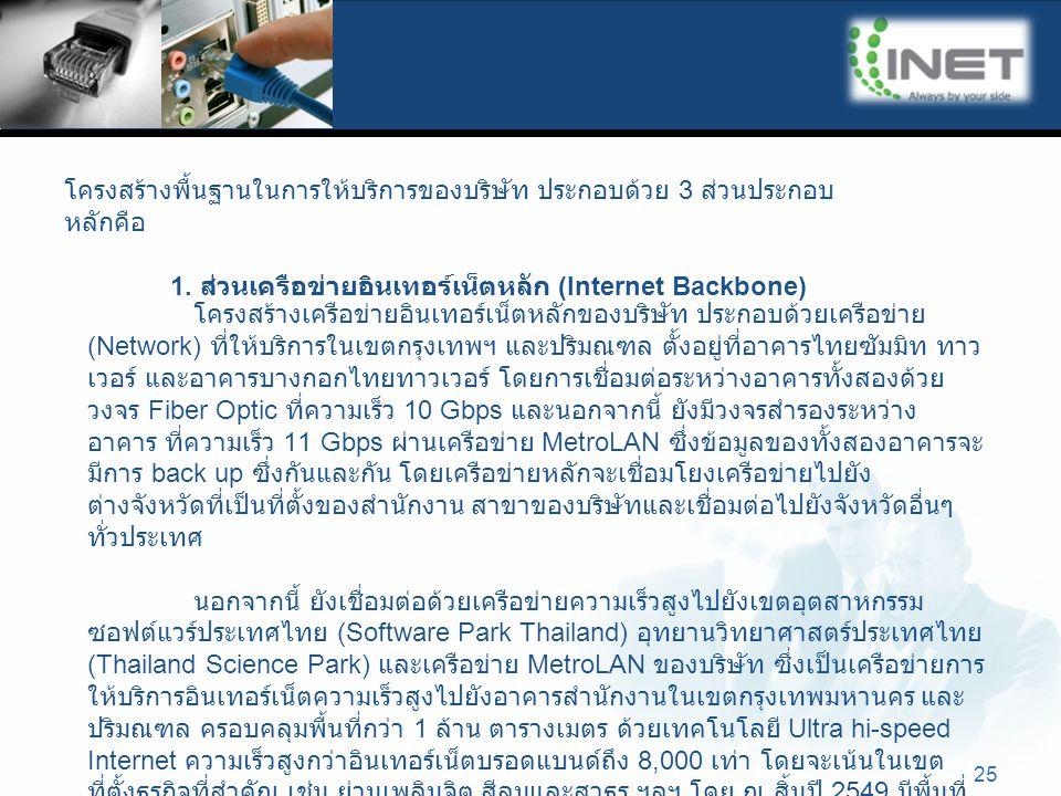 25 โครงสร้างพื้นฐานในการให้บริการของบริษัท ประกอบด้วย 3 ส่วนประกอบ หลักคือ 1. ส่วนเครือข่ายอินเทอร์เน็ตหลัก (Internet Backbone) โครงสร้างเครือข่ายอินเ