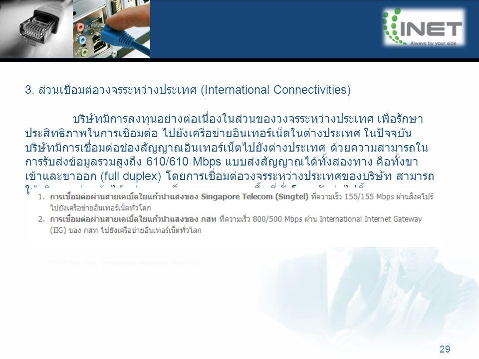 29 3. ส่วนเชื่อมต่อวงจรระหว่างประเทศ (International Connectivities) บริษัทมีการลงทุนอย่างต่อเนื่องในส่วนของวงจรระหว่างประเทศ เพื่อรักษา ประสิทธิภาพในก