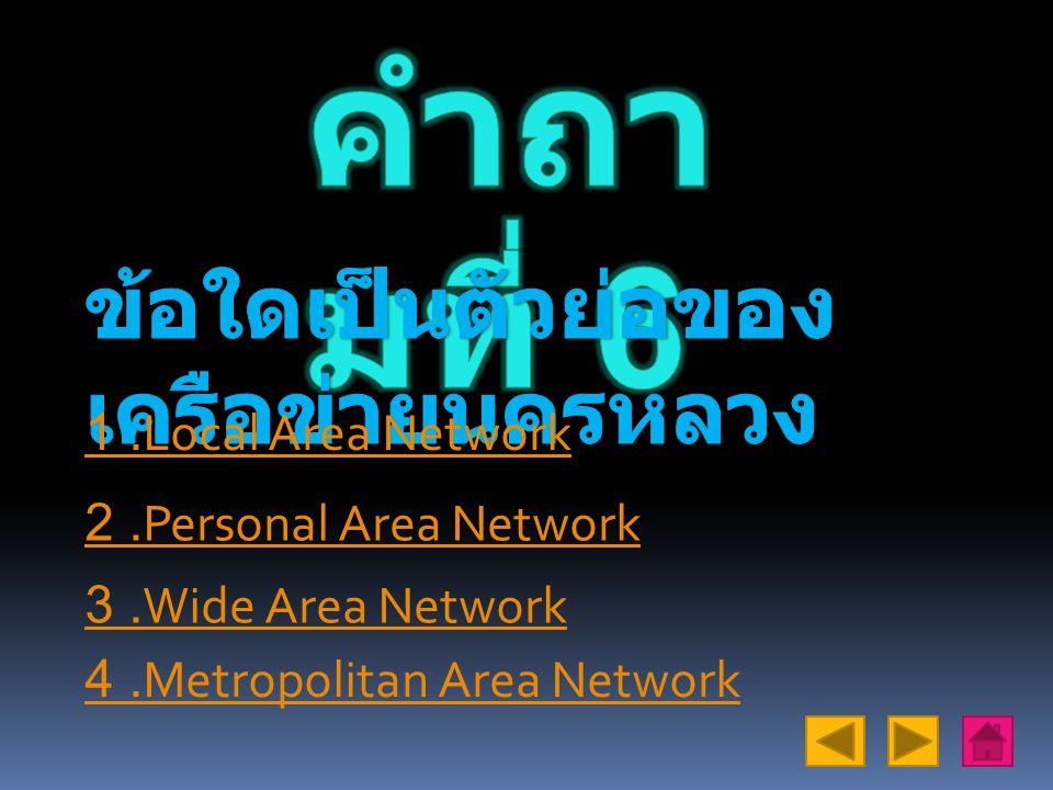 4.Metropolitan Area Network 1.Local Area Network 2.Personal Area Network 3.Wide Area Network