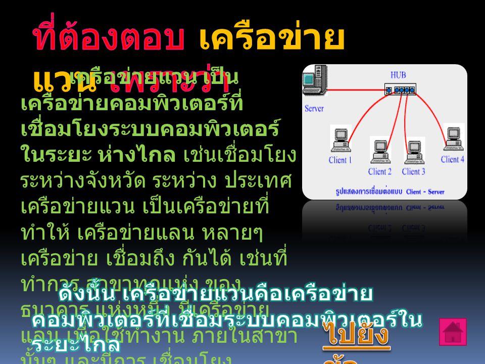 เครือข่ายแวน เป็น เครือข่ายคอมพิวเตอร์ที่ เชื่อมโยงระบบคอมพิวเตอร์ ในระยะ ห่างไกล เช่นเชื่อมโยง ระหว่างจังหวัด ระหว่าง ประเทศ เครือข่ายแวน เป็นเครือข่ายที่ ทำให้ เครือข่ายแลน หลายๆ เครือข่าย เชื่อมถึง กันได้ เช่นที่ ทำการ สาขาทุกแห่ง ของ ธนาคาร แห่งหนึ่ง มีเครือข่าย แลน เพื่อใช้ทำงาน ภายในสาขา นั้นๆ และมีการ เชื่อมโยง เครือข่ายแลน ของทุกสาขา ให้ เป็นระบบ เดียวด้วย เครือข่าย แวน