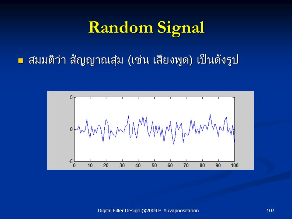 107Digital Filter Design @2009 P. Yuvapoositanon Random Signal สมมติว่า สัญญาณสุ่ม (เช่น เสียงพูด) เป็นดังรูป สมมติว่า สัญญาณสุ่ม (เช่น เสียงพูด) เป็น