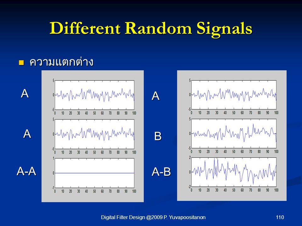110Digital Filter Design @2009 P. Yuvapoositanon Different Random Signals ความแตกต่าง ความแตกต่าง A A A-A A B A-B