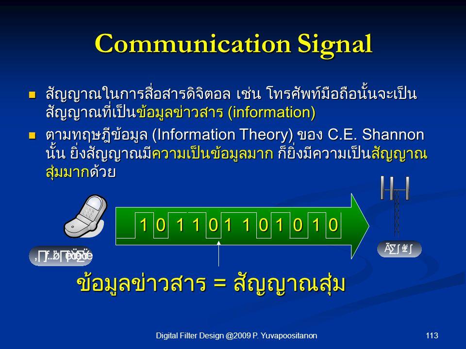 113Digital Filter Design @2009 P. Yuvapoositanon Communication Signal สัญญาณในการสื่อสารดิจิตอล เช่น โทรศัพท์มือถือนั้นจะเป็น สัญญาณที่เป็นข้อมูลข่าวส