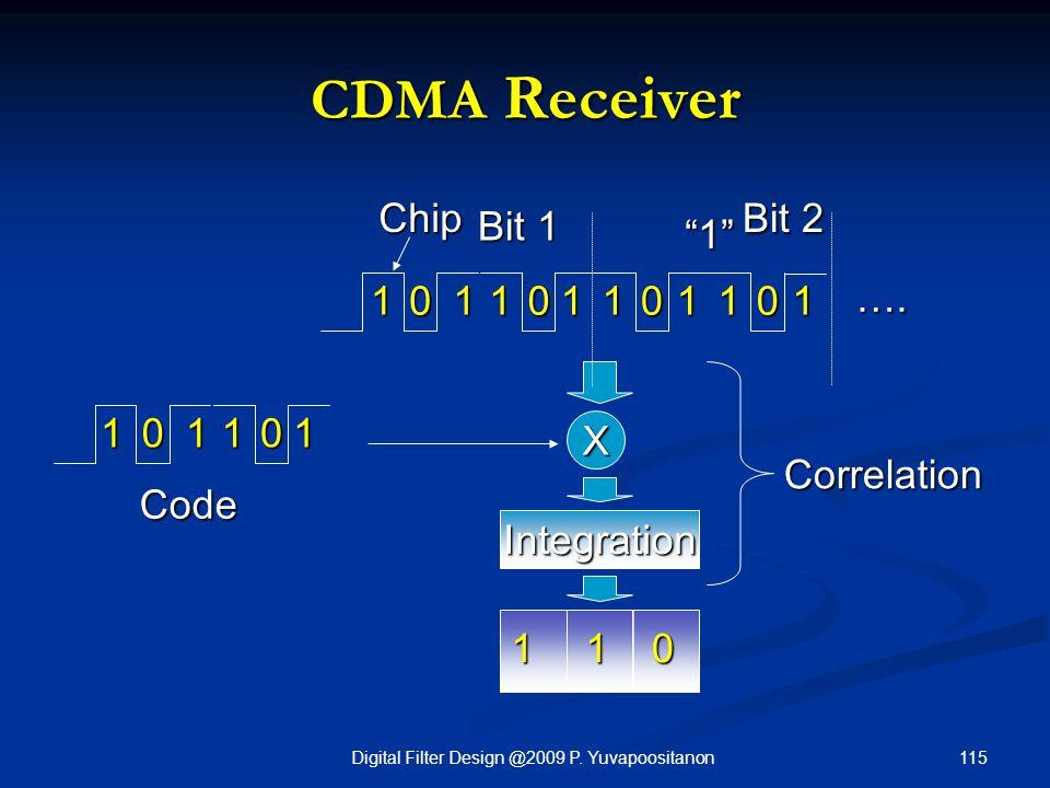 "115Digital Filter Design @2009 P. Yuvapoositanon CDMA Receiver 01011 Code 1 X Correlation 101010111011 ""1"" …. Bit 1 Bit 2 Chip 110 Integration"