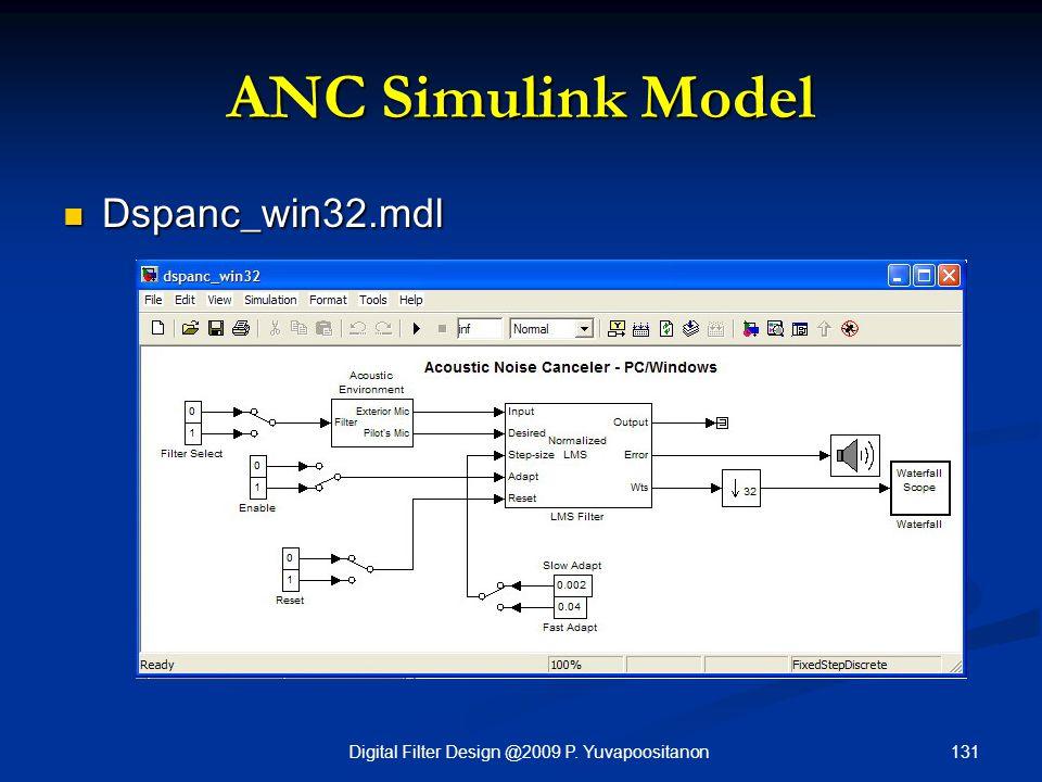 131Digital Filter Design @2009 P. Yuvapoositanon ANC Simulink Model Dspanc_win32.mdl Dspanc_win32.mdl
