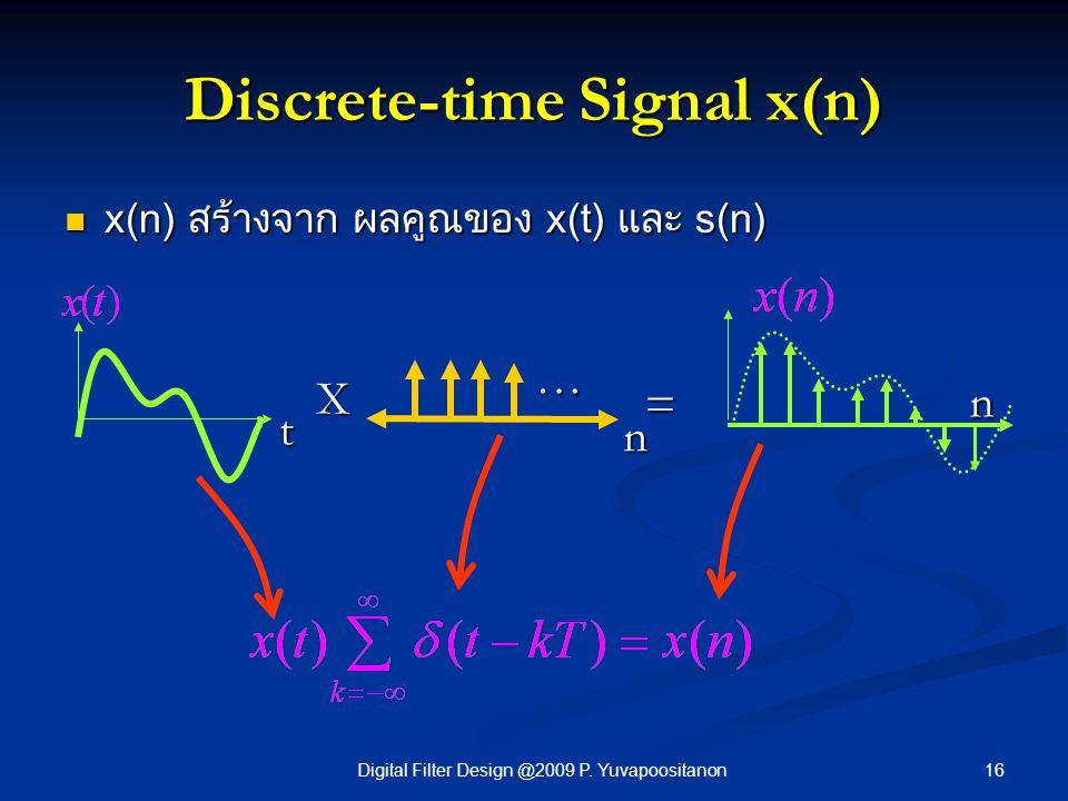 16Digital Filter Design @2009 P. Yuvapoositanon Discrete-time Signal x(n) x(n) สร้างจาก ผลคูณของ x(t) และ s(n) x(n) สร้างจาก ผลคูณของ x(t) และ s(n) t