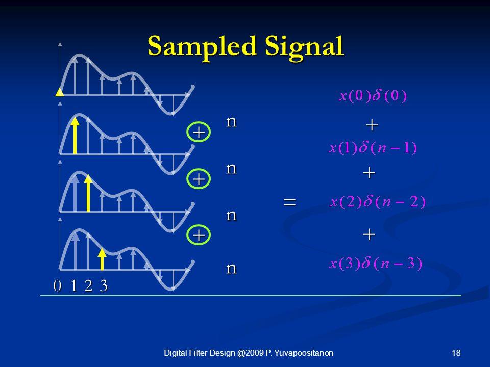 18Digital Filter Design @2009 P. Yuvapoositanon Sampled Signal + + n n n n 12 + + + = 0 + 3