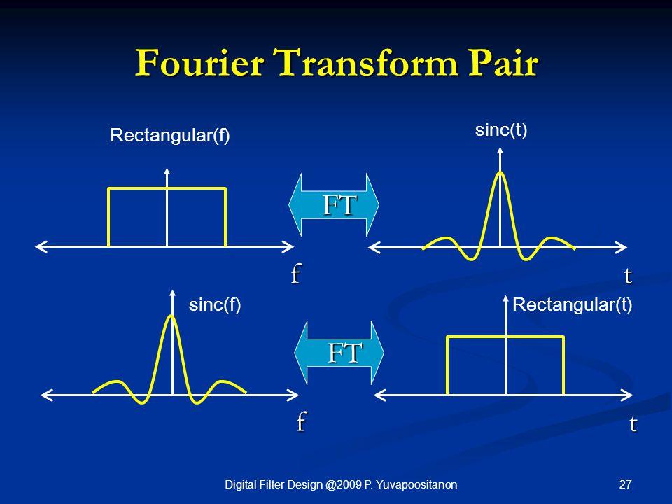 27Digital Filter Design @2009 P. Yuvapoositanon Fourier Transform Pair f t FT f t FT Rectangular(f) sinc(t) sinc(f)Rectangular(t)