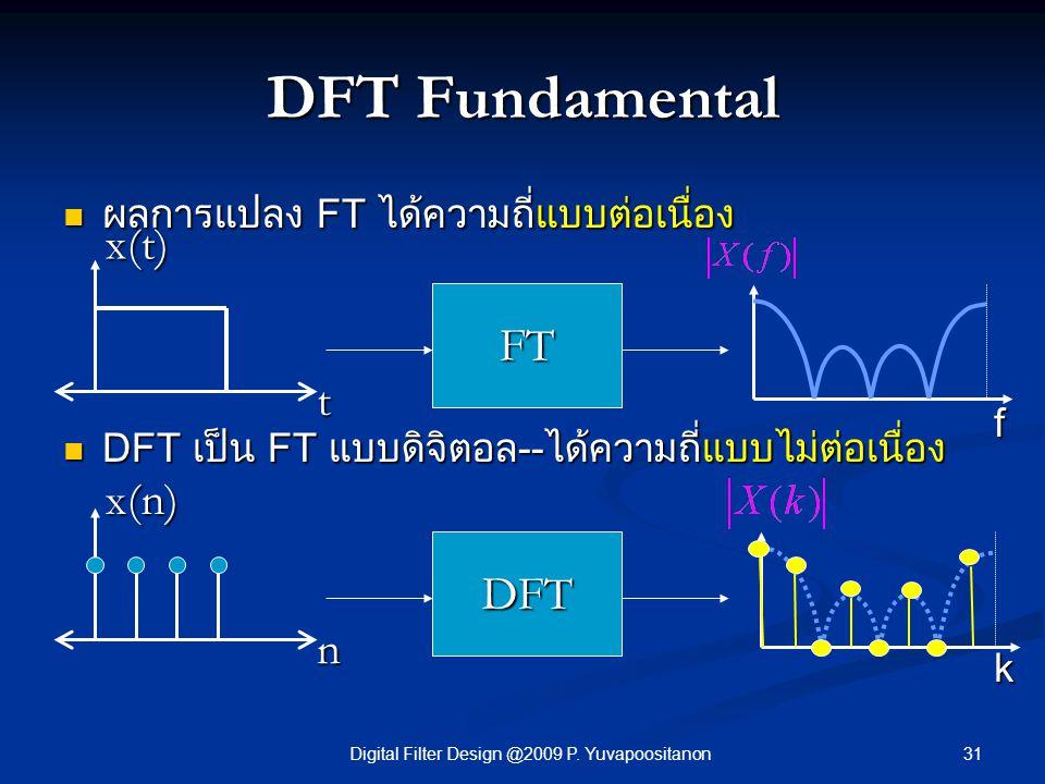 31Digital Filter Design @2009 P. Yuvapoositanon DFT Fundamental ผลการแปลง FT ได้ความถี่แบบต่อเนื่อง ผลการแปลง FT ได้ความถี่แบบต่อเนื่อง DFT เป็น FT แบ