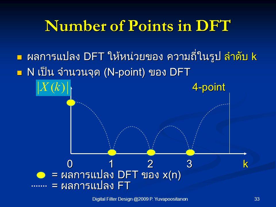 33Digital Filter Design @2009 P. Yuvapoositanon Number of Points in DFT = ผลการแปลง DFT ของ x(n) ผลการแปลง DFT ให้หน่วยของ ความถี่ในรูป ลำดับ k ผลการแ