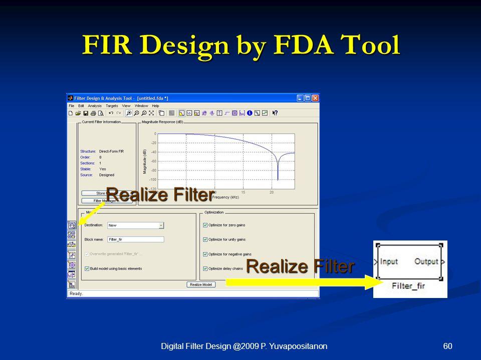 60Digital Filter Design @2009 P. Yuvapoositanon FIR Design by FDA Tool Realize Filter