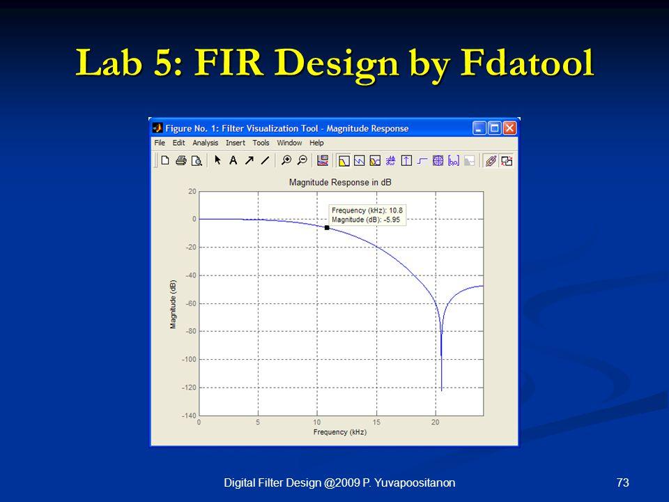 73Digital Filter Design @2009 P. Yuvapoositanon Lab 5: FIR Design by Fdatool