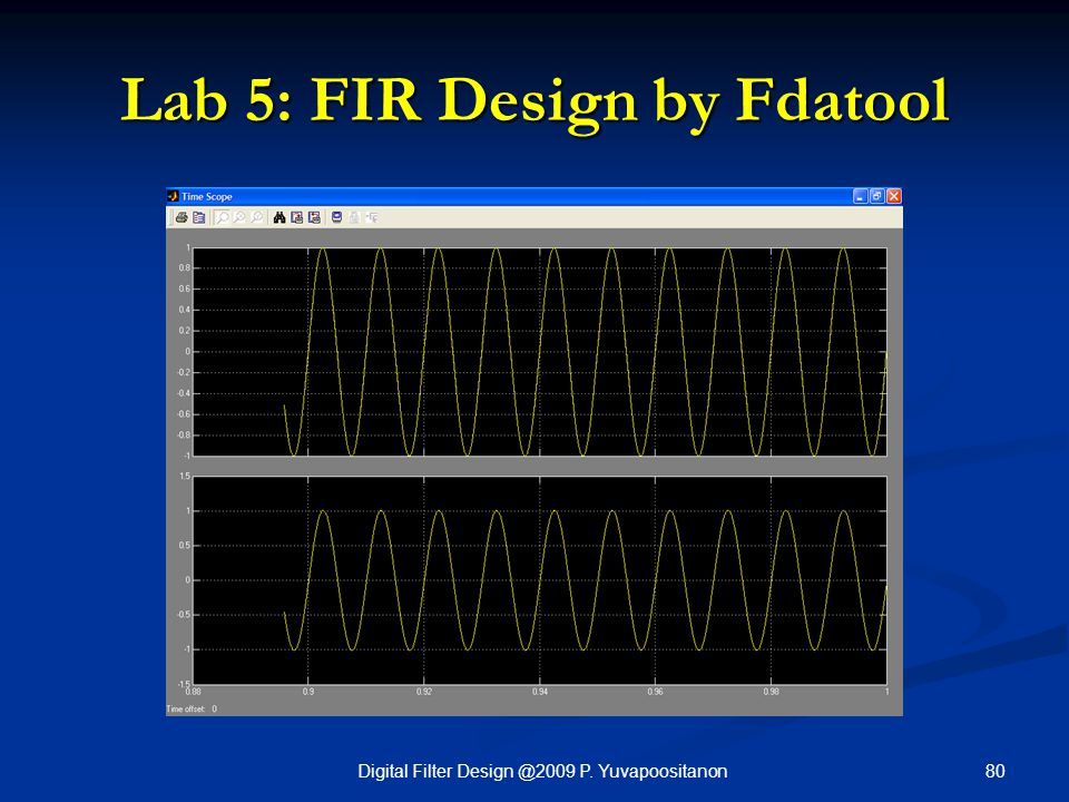 80Digital Filter Design @2009 P. Yuvapoositanon Lab 5: FIR Design by Fdatool