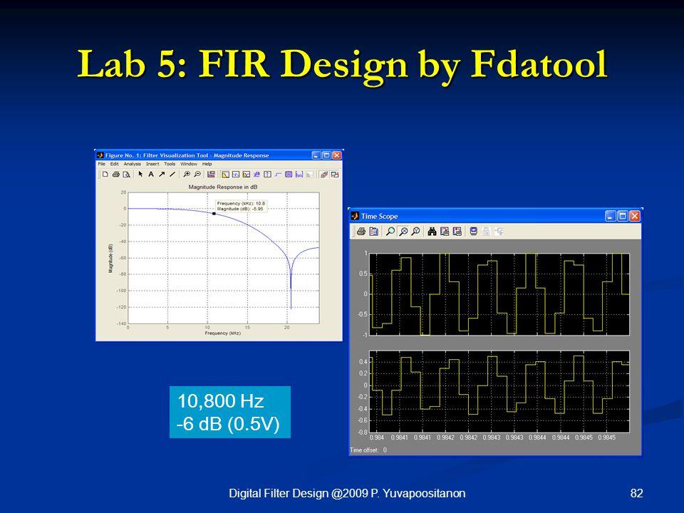 82Digital Filter Design @2009 P. Yuvapoositanon Lab 5: FIR Design by Fdatool 10,800 Hz -6 dB (0.5V)