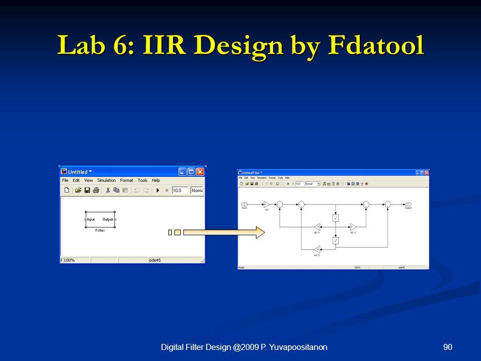 90Digital Filter Design @2009 P. Yuvapoositanon Lab 6: IIR Design by Fdatool