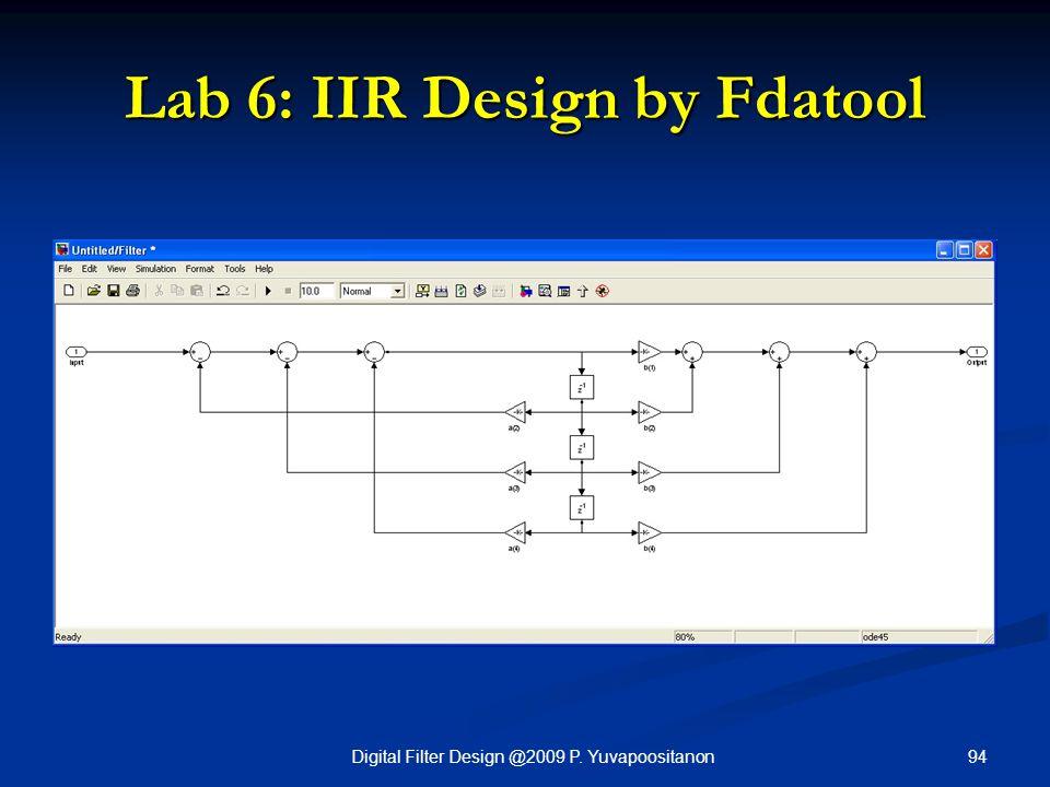 94Digital Filter Design @2009 P. Yuvapoositanon Lab 6: IIR Design by Fdatool