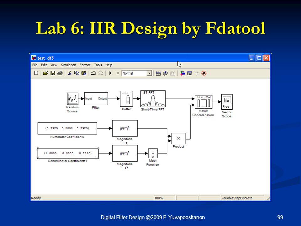 99Digital Filter Design @2009 P. Yuvapoositanon Lab 6: IIR Design by Fdatool