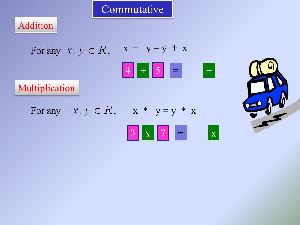 Commutative Addition For any x + y = y + x For anyx * y = y * x Multiplication 4 += 5 + 45 3 x= 7 x 37