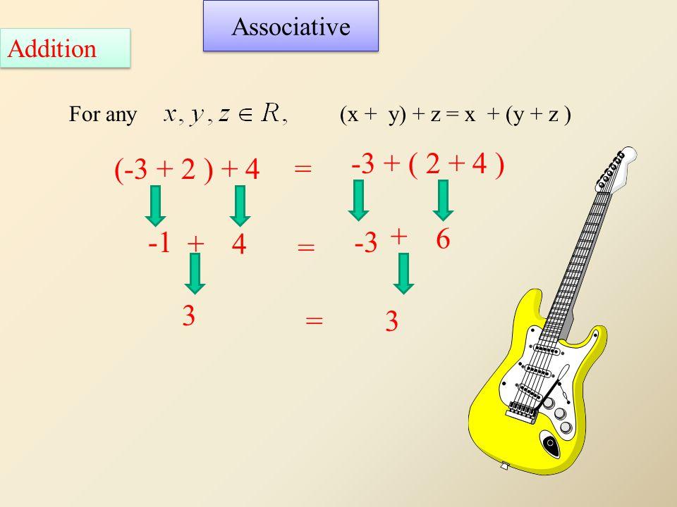 Associative Addition For any(x + y) + z = x + (y + z ) (-3 + 2 ) + 4 -3 + ( 2 + 4 ) = = + 3 3= +4 -3 6