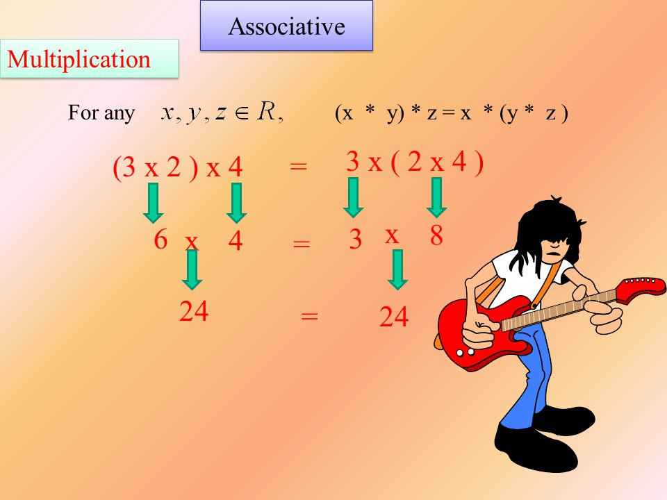 Associative For any(x * y) * z = x * (y * z ) (3 x 2 ) x 4 3 x ( 2 x 4 ) = 6 = x 24 = x4 3 8 Multiplication
