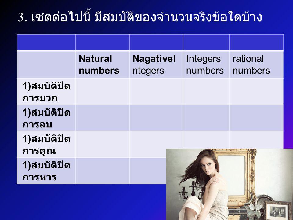3. เซตต่อไปนี้ มีสมบัติของจำนวนจริงข้อใดบ้าง Natural numbers NagativeI ntegers Integers numbers rational numbers 1) สมบัติปิด การบวก 1) สมบัติปิด การล