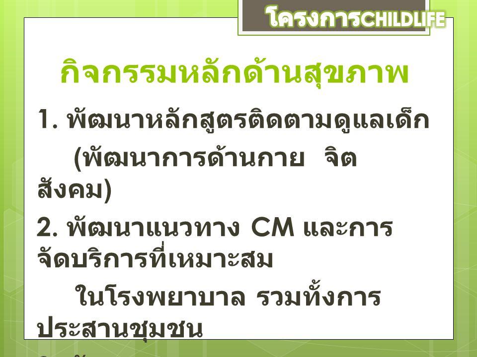 กิจกรรมหลักด้านสุขภาพ 1. พัฒนาหลักสูตรติดตามดูแลเด็ก ( พัฒนาการด้านกาย จิต สังคม ) 2. พัฒนาแนวทาง CM และการ จัดบริการที่เหมาะสม ในโรงพยาบาล รวมทั้งการ