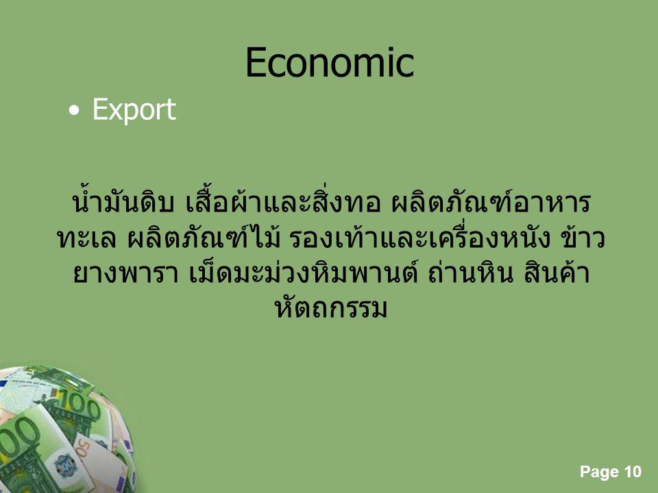 Page 10 Powerpoint Templates Page 10 Economic Export น้ำมันดิบ เสื้อผ้าและสิ่งทอ ผลิตภัณฑ์อาหาร ทะเล ผลิตภัณฑ์ไม้ รองเท้าและเครื่องหนัง ข้าว ยางพารา เ
