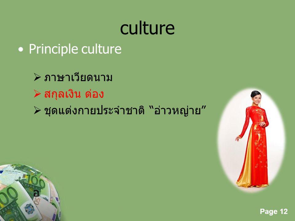 "Page 12 Powerpoint Templates Page 12 culture Principle culture  ภาษาเวียดนาม  สกุลเงิน ด่อง  ชุดแต่งกายประจำชาติ ""อ่าวหญ่าย"" อ"