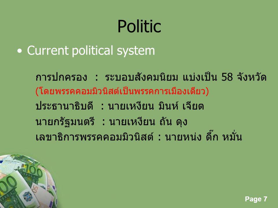 Page 7 Powerpoint Templates Page 7 Politic Current political system การปกครอง : ระบอบสังคมนิยม แบ่งเป็น 58 จังหวัด (โดยพรรคคอมมิวนิสต์เป็นพรรคการเมือง