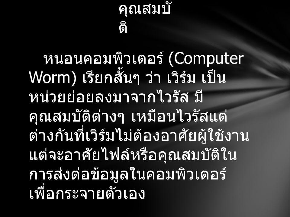 หนอนคอมพิวเตอร์ (Computer Worm) เรียกสั้นๆ ว่า เวิร์ม เป็น หน่วยย่อยลงมาจากไวรัส มี คุณสมบัติต่างๆ เหมือนไวรัสแต่ ต่างกันที่เวิร์มไม่ต้องอาศัยผู้ใช้งา
