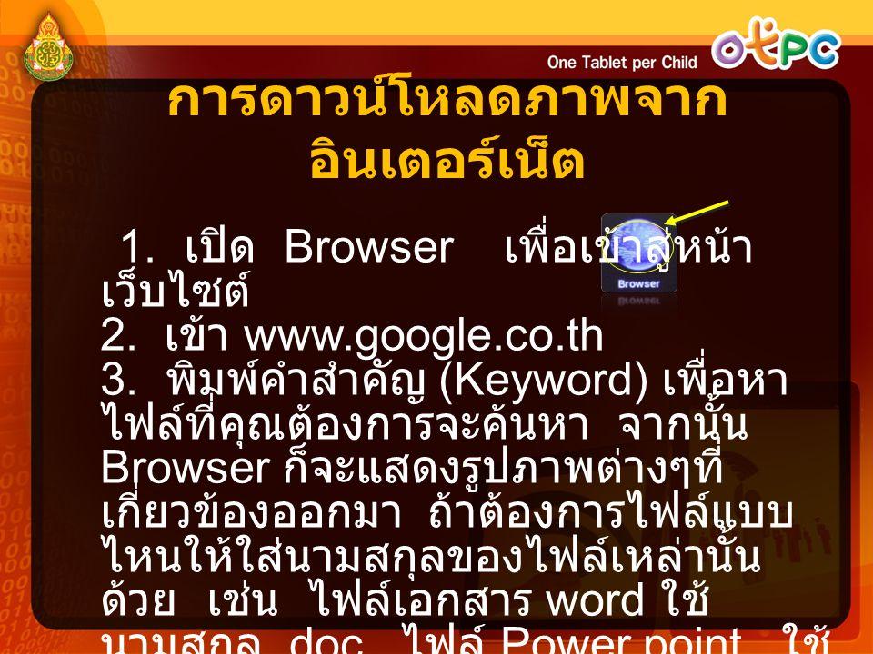 การดาวน์โหลดภาพจาก อินเตอร์เน็ต 1. เปิด Browser เพื่อเข้าสู่หน้า เว็บไซต์ 2. เข้า www.google.co.th 3. พิมพ์คำสำคัญ (Keyword) เพื่อหา ไฟล์ที่คุณต้องการ