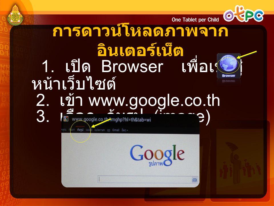 การดาวน์โหลดภาพจาก อินเตอร์เน็ต 1. เปิด Browser เพื่อเข้าสู่ หน้าเว็บไซต์ 2. เข้า www.google.co.th 3. เลือก ค้นรูป (image)