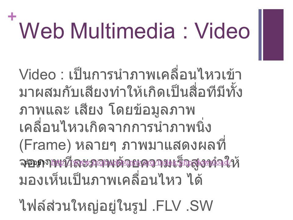 + Web Multimedia : Video Video : เป็นการนำภาพเคลื่อนไหวเข้า มาผสมกับเสียงทำให้เกิดเป็นสื่อทีมีทั้ง ภาพและ เสียง โดยข้อมูลภาพ เคลื่อนไหวเกิดจากการนำภาพนิ่ง (Frame) หลายๆ ภาพมาแสดงผลที่ จอภาพทีละภาพด้วยความเร็วสูงทำให้ มองเห็นเป็นภาพเคลื่อนไหว ได้ ไฟล์ส่วนใหญ่อยู่ในรูป.FLV.SW ตัวอย่าง http://www.bigbuckbunny.org/index.php/download/http://www.bigbuckbunny.org/index.php/download/