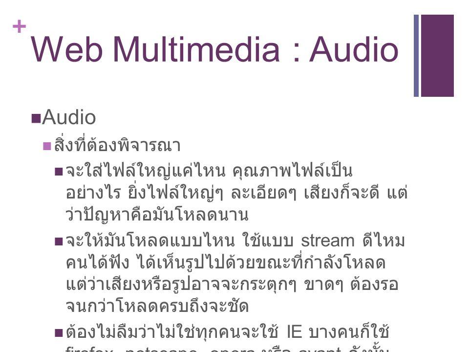 + Web Multimedia : Audio Audio สิ่งที่ต้องพิจารณา จะใส่ไฟล์ใหญ่แค่ไหน คุณภาพไฟล์เป็น อย่างไร ยิ่งไฟล์ใหญ่ๆ ละเอียดๆ เสียงก็จะดี แต่ ว่าปัญหาคือมันโหลดนาน จะให้มันโหลดแบบไหน ใช้แบบ stream ดีไหม คนได้ฟัง ได้เห็นรูปไปด้วยขณะที่กำลังโหลด แต่ว่าเสียงหรือรูปอาจจะกระตุกๆ ขาดๆ ต้องรอ จนกว่าโหลดครบถึงจะชัด ต้องไม่ลืมว่าไม่ใช่ทุกคนจะใช้ IE บางคนก็ใช้ firefox, netscape, opera หรือ avant ดังนั้น คำสั่งที่ใช้ต้องดูให้ดีว่า browser ส่วนใหญ่จะ รับได้ เวลาเราเขียนคำสั่งเพลงที่เราใส่มันเรียก โปรแกรมอะไรมาใช้บ้าง